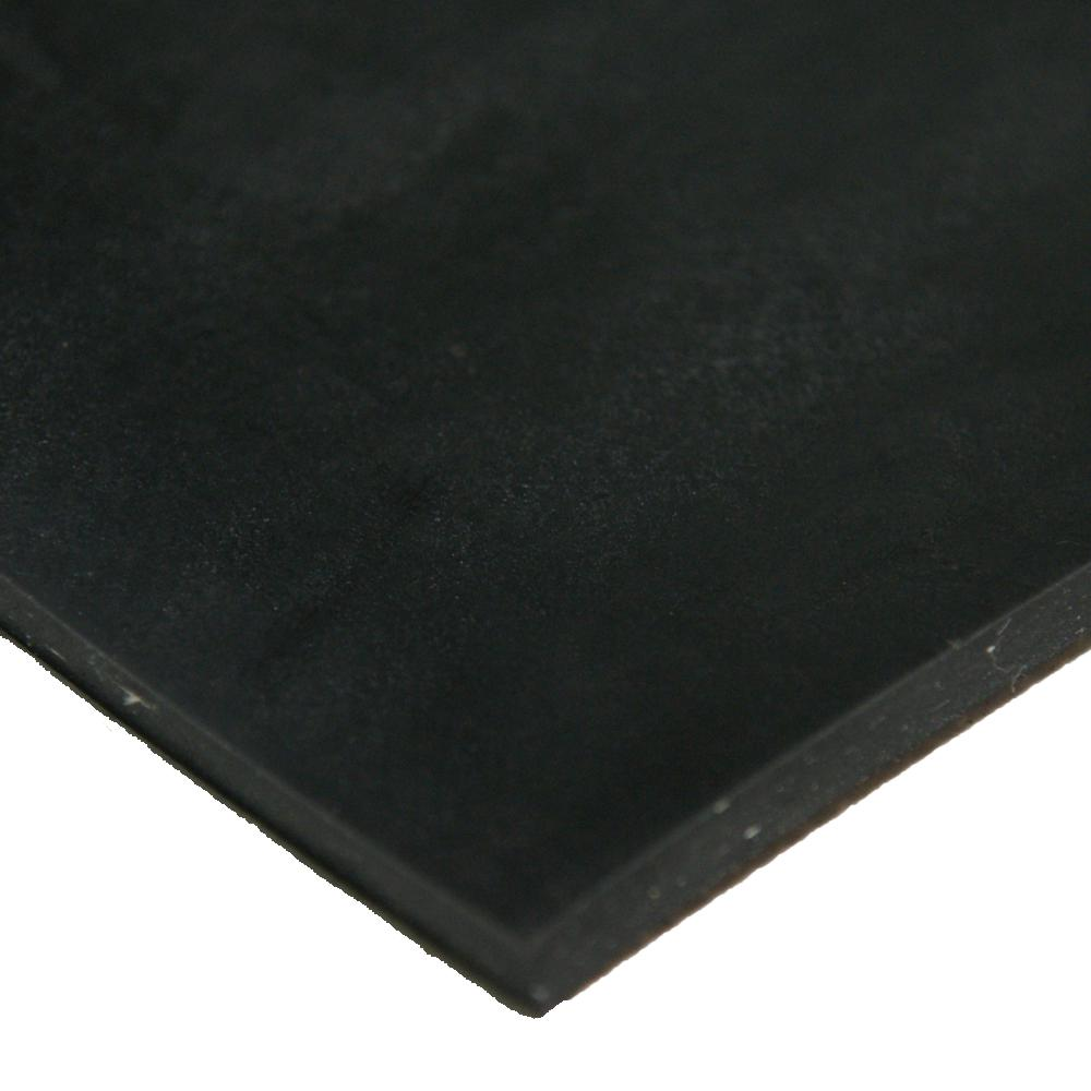 Cloth Inserted SBR 3/16 in. x 24 in. x 12 in. 70A Rubber Sheet - Black