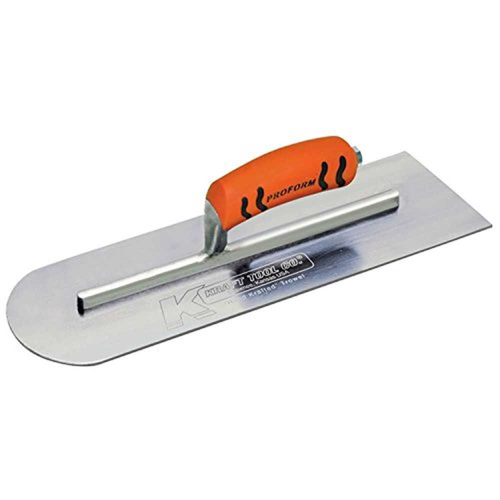Kraft CF428PF CS Round Front/Sq Backing Trowel, 10x4', ProForm Soft Grip Handle
